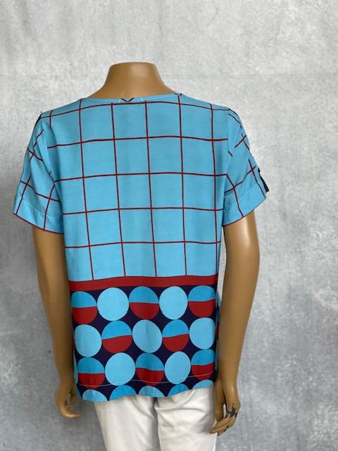 Blusa Feminina Manga Curta Estampa Geométrica Azul