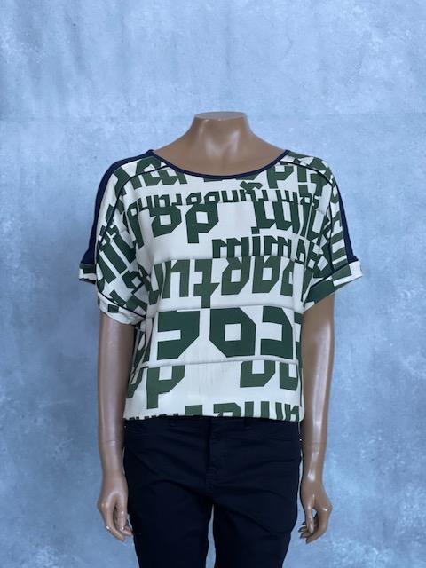 Blusa Feminina Manga Curta Estampada Verde e Bege