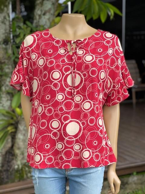 Blusa Feminina Manga Curta Estampa Vermelha