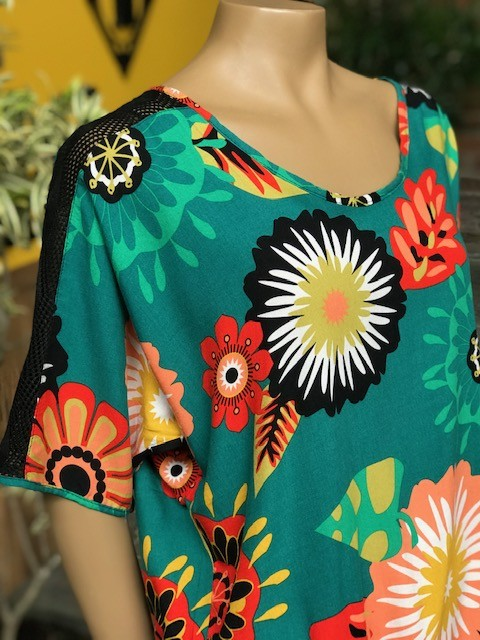 Blusa Feminina Manga Curta Modelan Verde Estampada