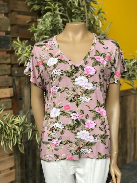 Blusa Feminina Manga Curta Estampada Floral Viscolycra Gola V