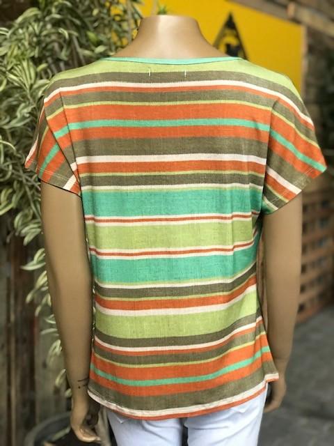 Blusa Feminina Manga Curta Verde Estampada Listrada