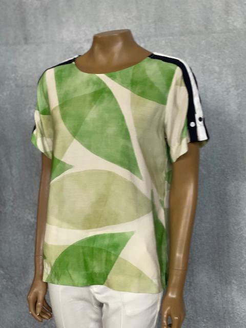 Blusa Feminina Manga Curta Viscose Estampada Verde e Off White