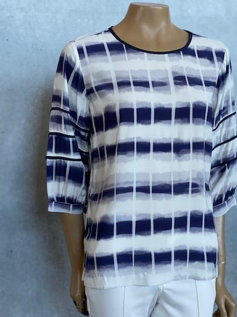 Blusa Feminina Meia Manga de Viscose Azul Marinho e Branca