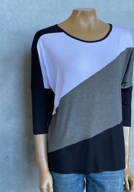 Blusa Feminina Meia Manga Viscolycra Tricolor Preta Cinza e Branco