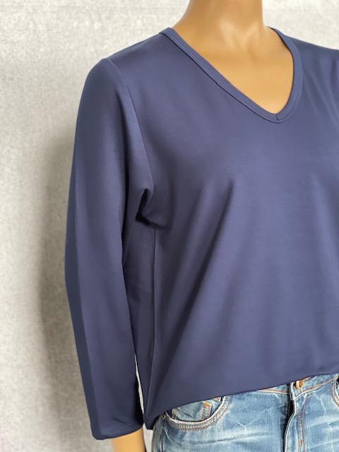Moletinho Feminino Manga Longa Azul Marinho Gola V Blusa