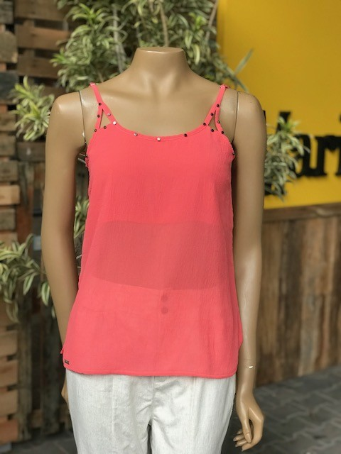 Blusa de Alcinha Feminina Rosa Tatuada Coral