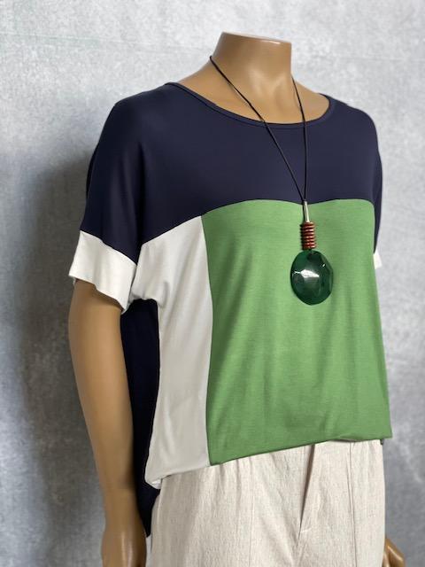 Blusa Feminina Viscolycra Manga Curta Tricolor Marinho Verde e Off White