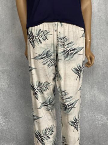 Calça Feminina de Viscolycra Mariantônia Marfim Estampada