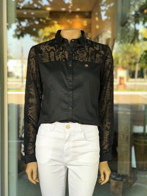 Camisa Social Feminina com Renda Preta