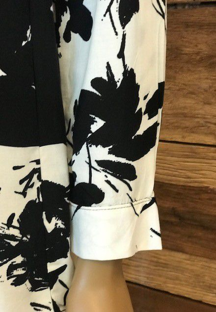 Camisa Feminina Manga Longa Estampada Preta