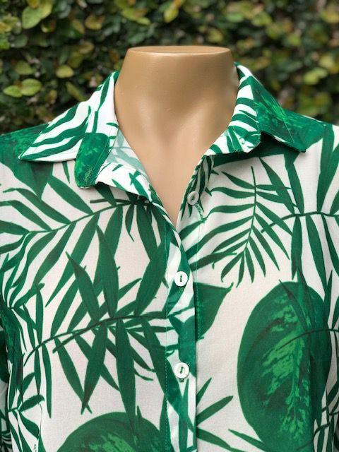 Camisa Feminina Manga Longa Estampada Verde