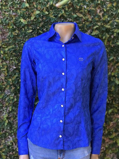 Camisa Social Feminina Manga Longa Azul