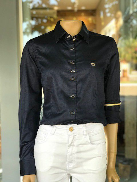 Camisa Social Feminina Azul Marinho Manga Longa