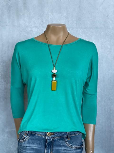 Colar Feminino Longo Artesanal Pingente Verde Musgo e Branco com Detalhes em Dourado