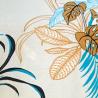 Estampa Folhas Amarela/Turquesa/Preto  com Fundo Off White