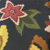 Estampa Floral Verde, Amarelo, Marsala com Fundo Marinho