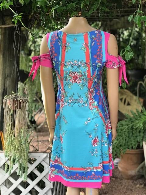 Vestido Feminino Intuição Estampado Floral Manga Curta Decote V Azul