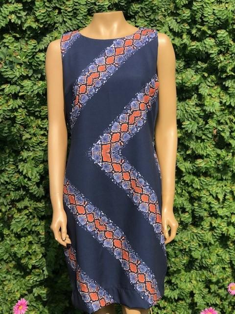 Vestido Feminino Regata Estampado Azul e Terra