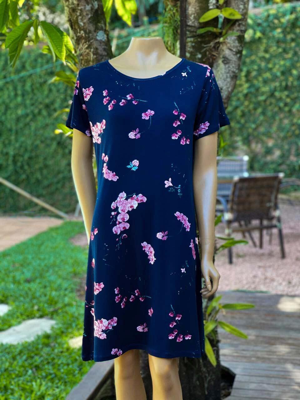 Vestido Feminino Manga Curta Gola Redonda Azul Marinho Estampado