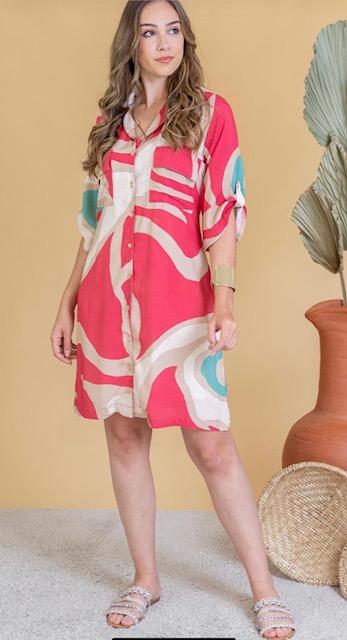 Vestido Feminino Meia Manga Gola V Estampado Coral e Bege