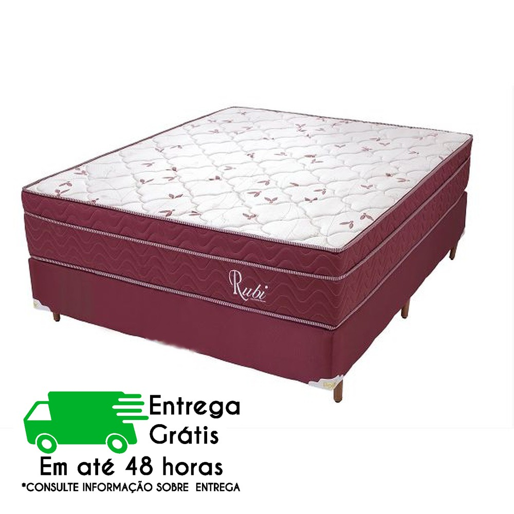 CONJUGADO CASAL 1,38 CAMA + COLCHÃO POLAR RUBI VERMELHO (MOLAS)