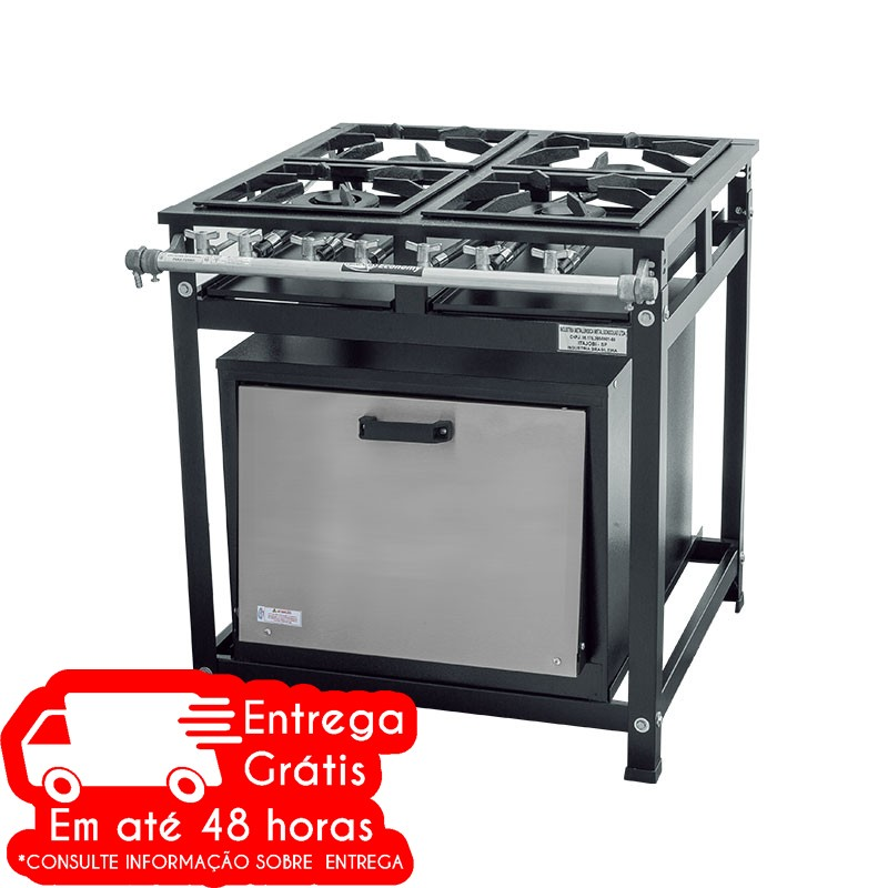 FOGÃO INDUSTRIAL ATIVO CRISTAL AÇO 5435 4 BOCAS BAIXA PRESSÃO C/FORNO