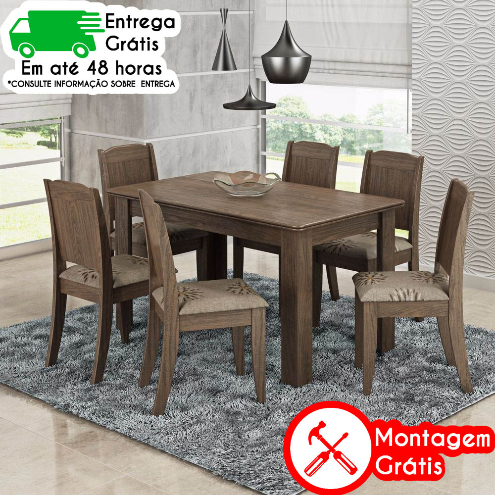 MESA CIMOL BARBARA 6 CADEIRAS MARROCOS (100% MDF)