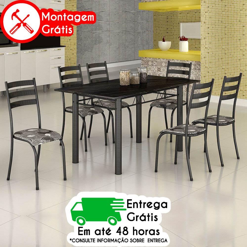 MESA MADMELOS 6 CADEIRAS BS284/CD591 ARDÓSIA 140 PRATA