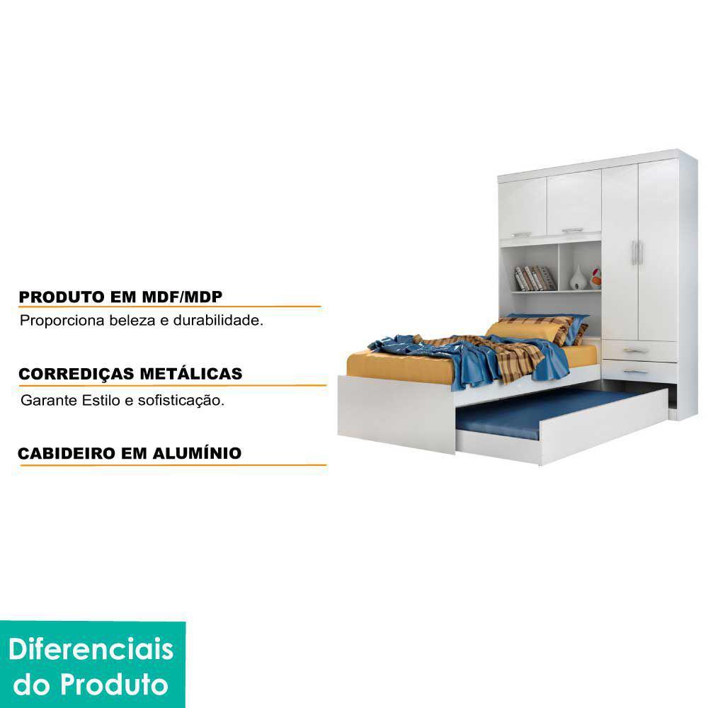 ROUPEIRO ACP 4PORTAS MILENA C/CAMA+AUXILIAR
