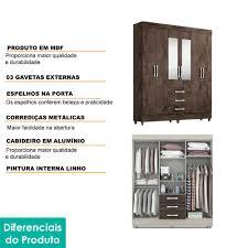ROUPEIRO ACP 6 PORTAS BEATRIZ C/PÉS E ESPELHO (100% MDF)