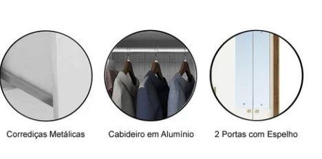 ROUPEIRO ACP DÉBORA 4 PORTAS C/PÉS E ESPELHO (100% MDF) MEL/OFF