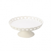Boleira de Cerâmica com Borda vazada de Coração Branco 20,5cm