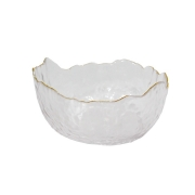 Bowl Grande de Vidro com Borda Dourada 20x20x8,5 cm