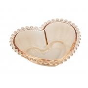 Bowl Médio de Coração em Cristal Âmbar com borda de Bolinha 19x15x6cm