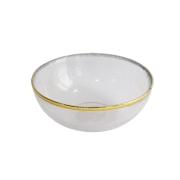 Bowl Médio de Vidro com Borda Dourada 20x20x7,5 cm