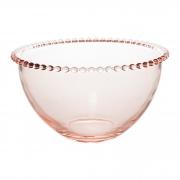 Bowl Médio em Cristal Rosa Com Borda de Bolinha 14x8cm