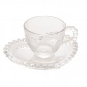 Conjunto com 4 Xícaras em Cristal de Coração com Borda de Bolinha para Café 85ml