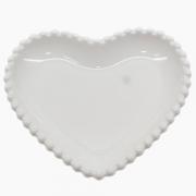Petisqueira de Coração em Porcelana com Borda de bolinha 16x16x1,5 cm
