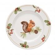 Prato para Sobremesa Aquarelle Christmas Esquilo 20 cm Natal