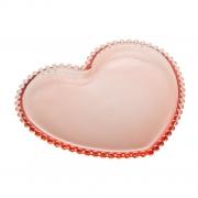 Prato Sobremesa de Coração em Cristal Rosa com Borda de Bolinha 20x17x2cm