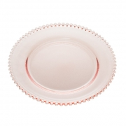 Sousplat em Cristal Rosa com Borda de Bolinha 32x3 cm 32cm
