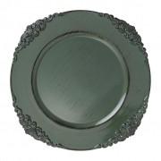 Sousplat Galles Barroco Green Antique 33 cm