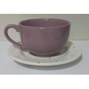 Xícara Lilás para Chá com Pires 'AMOR' de Pascoa 200 ml