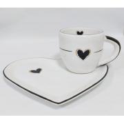 Xícara para Chá com Pires de Coração da Coleção Riviera