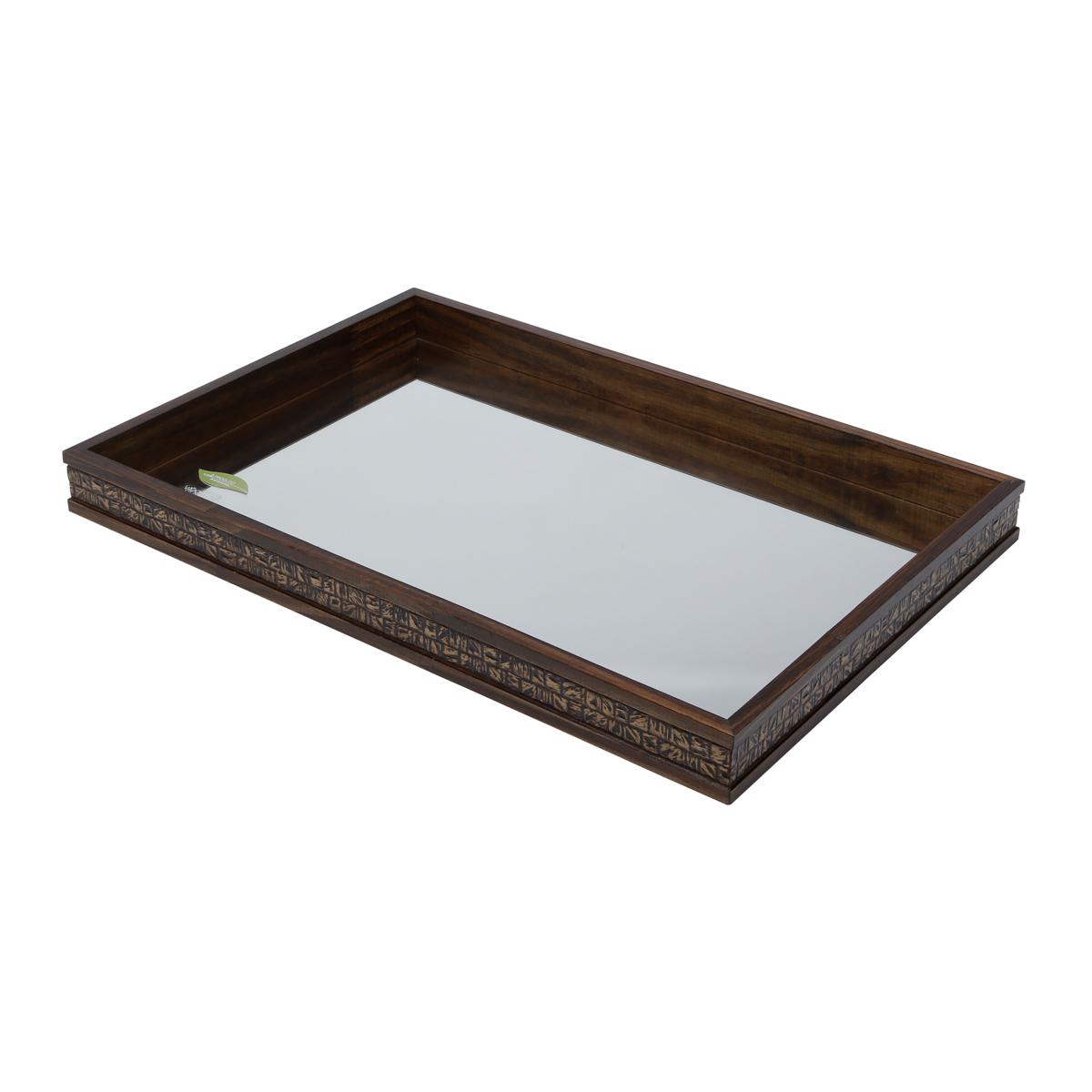 Bandeja Grande de Madeira com Espelho Coquinho 51x35x5cm