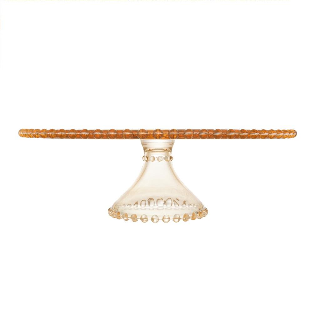 Boleira de Cristal Âmbar com Pé e Borda de Bolinha Pearl 31x11cm