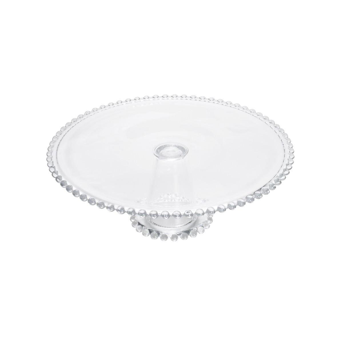 Boleira de Cristal com Pé e Borda de Bolinha Pearl  31x11cm