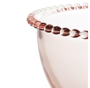 Bowl Grande em Cristal Rosa com Borda de Bolinha 21x12cm