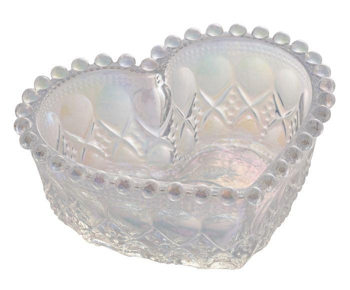Bowl Médio de Coração furta cor Metalizado com Borda de Bolinha Balls  13,5x12x5cm